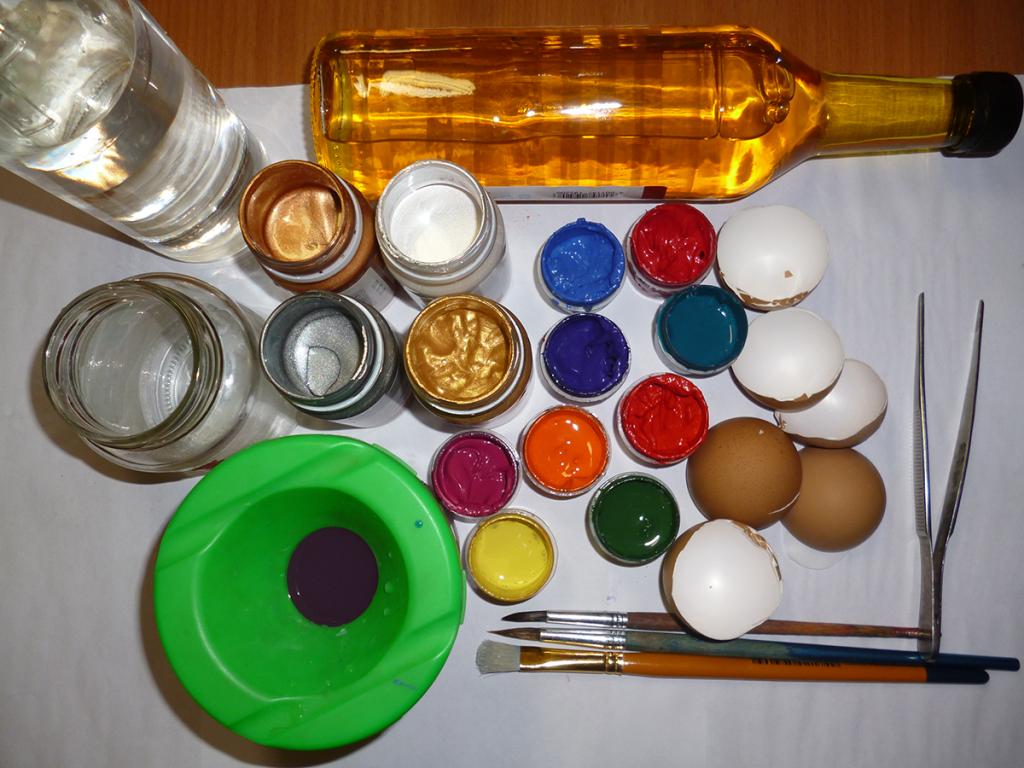 чем красить яичную скорлупу для мозаики
