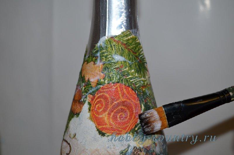 шампанское на новый год своими руками декупаж