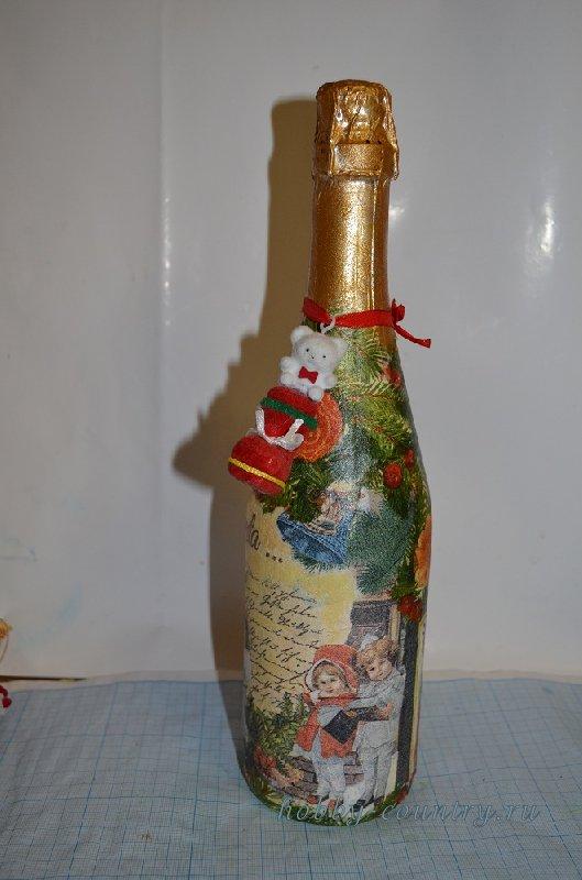 новогоднее шампанское своими руками декупаж