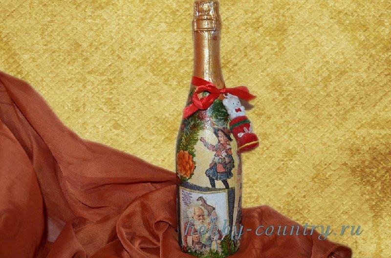 декупаж шампанского на новый год