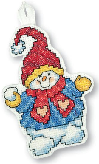 вышивка крестом снеговик