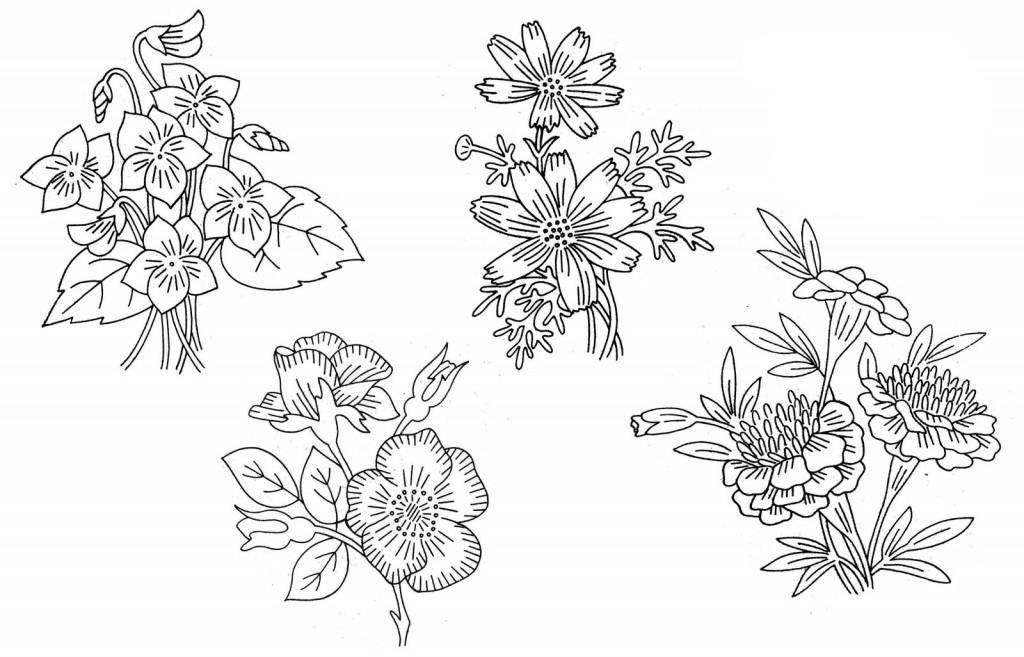 Рисунки вышивок гладью цветов 739