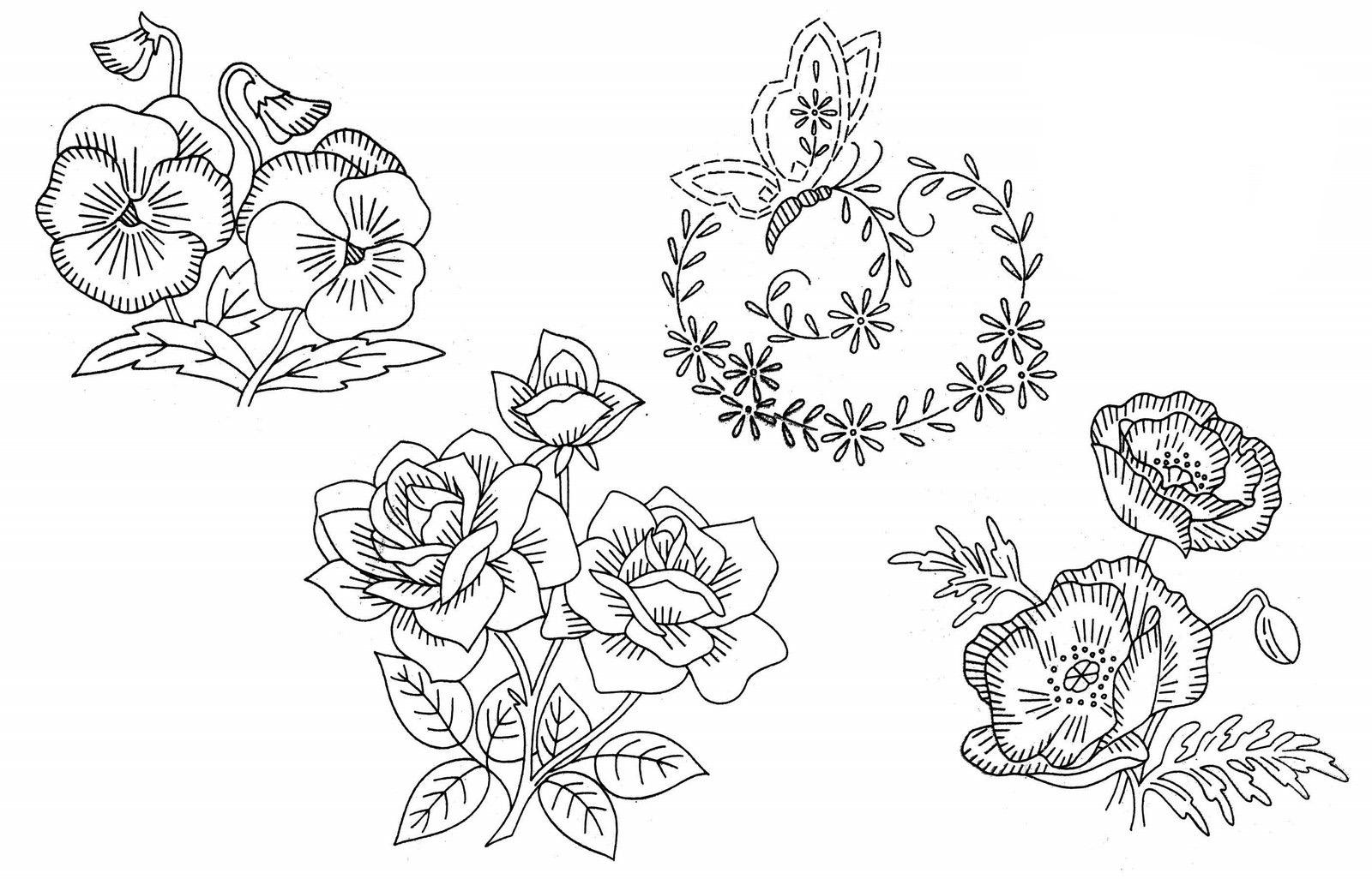 Рисунки вышивок гладью цветов 407