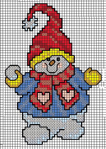 вышивка снеговик схема