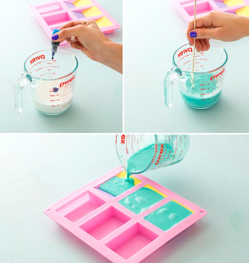 разноцветное мыло из мыльной основы