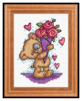 Вышивка ко дню Святого Валентина Мишка с цветами