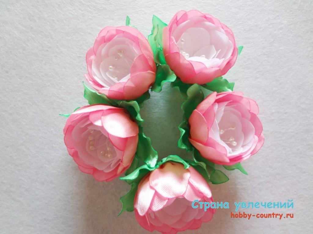 цветы канзаши своими руками мастер класс