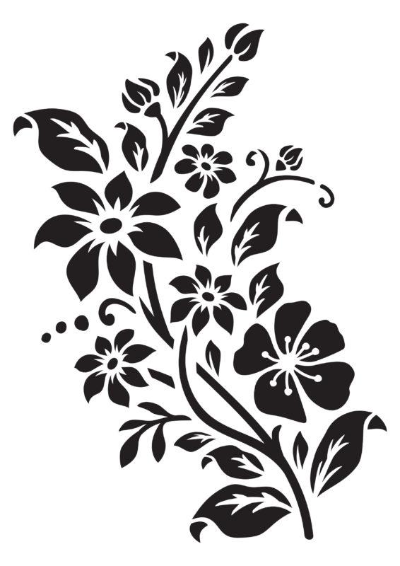 трафарет цветы для покраски